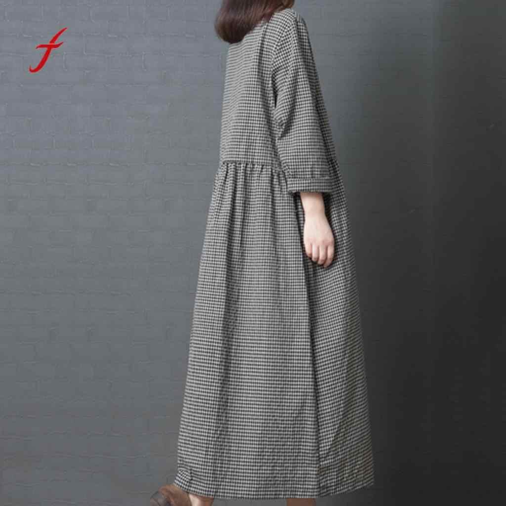 Feitong длинное платье-сарафан женское летнее длинное платье большой код девушка в японском стиле льняное платье в клетку с длинными рукавами Vestidos