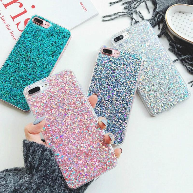 Silikon Bling Glitter Pailletten Telefon Fall für Huawei Ehre 7A 7C Pro Y7 Prime Huawei Y5 Y6 Y7 Prime Y9 2018 Mate 10 20 Lite