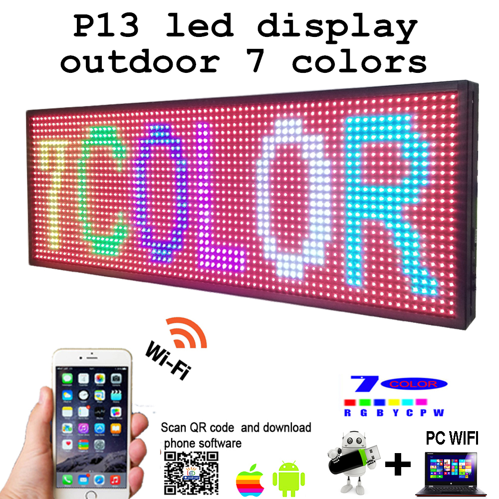 Free shipping 39 x 14 Programmable 7 colors LED Scrolling Message Display Sign P13 led panel
