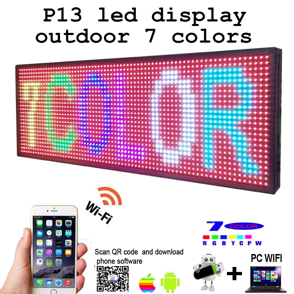 Бесплатная доставка 39 x 14 Программируемый 7 цветов светодиодный экран сообщения знак P13 светодиодный панель открытый доска