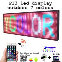 Free shipping 39x 14 Programmable 7 colors LED Scrolling Message Display Sign P13 led panel outdoor Board