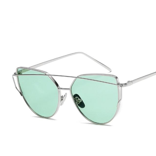 SIMPLESHOW Cat Eye Sunglasses Women Brand Fashion Rose Gold Mirror Sun Glasses Unique Flat Ladies Sunglasses oculos UV400 3