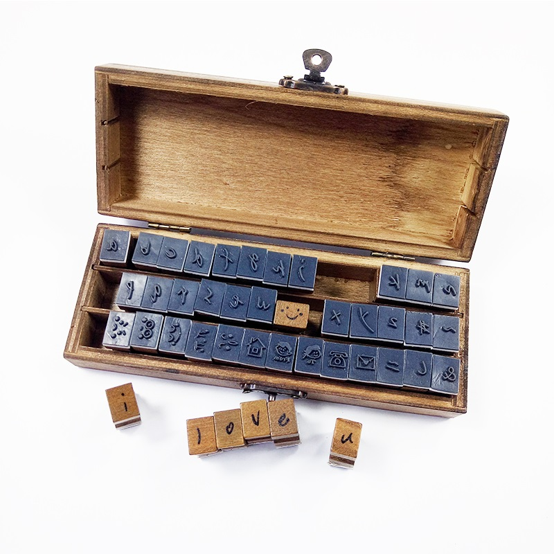 42 Pcs/set Handwriting Lower Case&Symbol Wooden Stamp Set DIY Decorative Clear Stamps For Scrapbooking With Wooden Box Wholesale