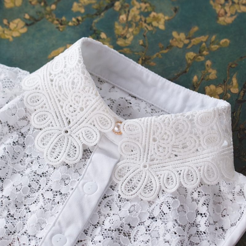 MIARA.L 2019 Most High Quality Water Soluble Hollow Lace Shirt Stand Collar With Sweater Necklace False Collar For Women