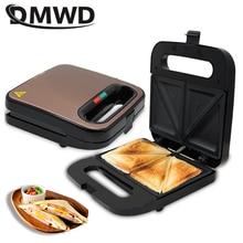 DMWD Электрический сэндвич-мейкер мини гриль Panini выпечки плиты тостер Многофункциональный антипригарный яйцо вафельница машина для завтрака ЕС