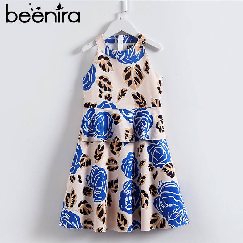 Beenira Children Summer Dress 2017 New European And American Style Girls O-neck Sleeveless Princess Dress Design For 4-14y Dress new next fall girls graffiti sets european and american style printing zipper cardigan cartoon princess hot sale children s sets