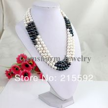 Fabulous 3 Rows White&Blcak Freshwater Pearl Necklace Beads Jewelry Fashion Wedding&Party Bridesmaid Jewelry Free Shipping FP027