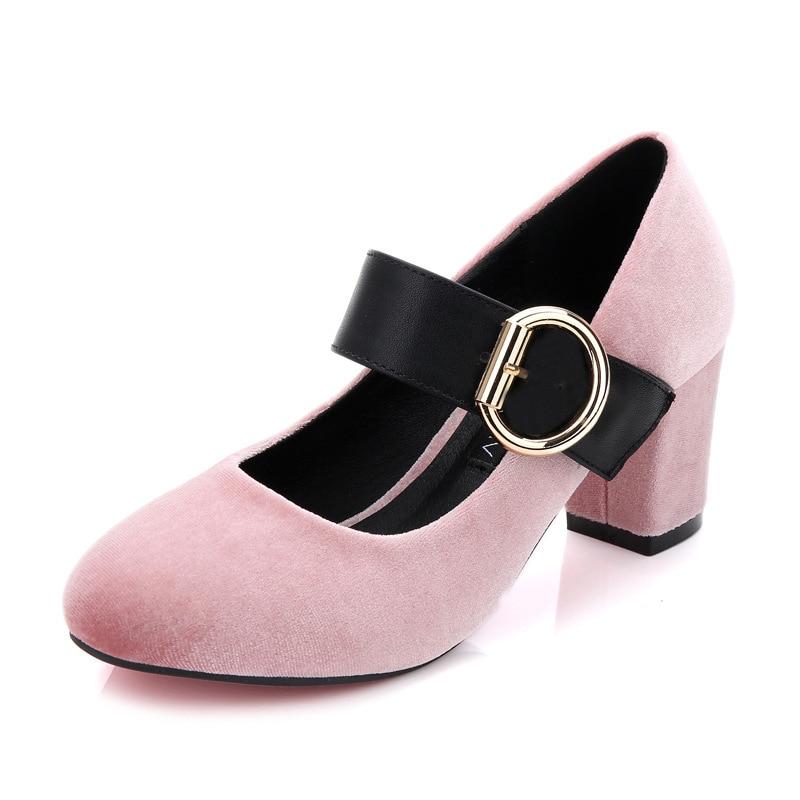 ФОТО New Ladies High Heel Shoes Women Sexy Dress Footwear Fashion Lady Female Brand Pumps Round Head Shoes Velvet Face Hot Sale
