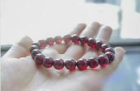 Natural Rose Red Garnet Crystal Round Stretch Beads Bracelet