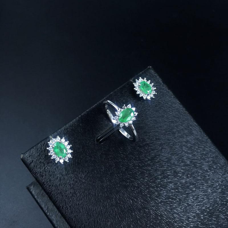 Natürlicher Smaragdschmuck Set Massiv 925 Sterling Silber Frau Stein - Edlen Schmuck - Foto 4