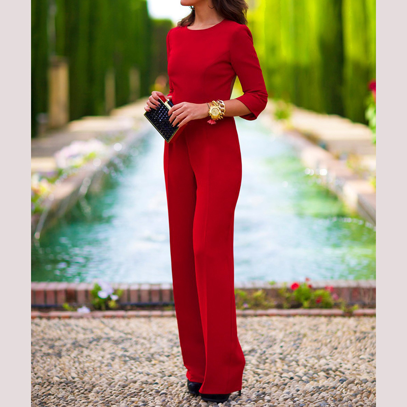 Explosions hot 2018 womens sexy jumpsuit solid color back leak empty sleeve new arrive clothing A810