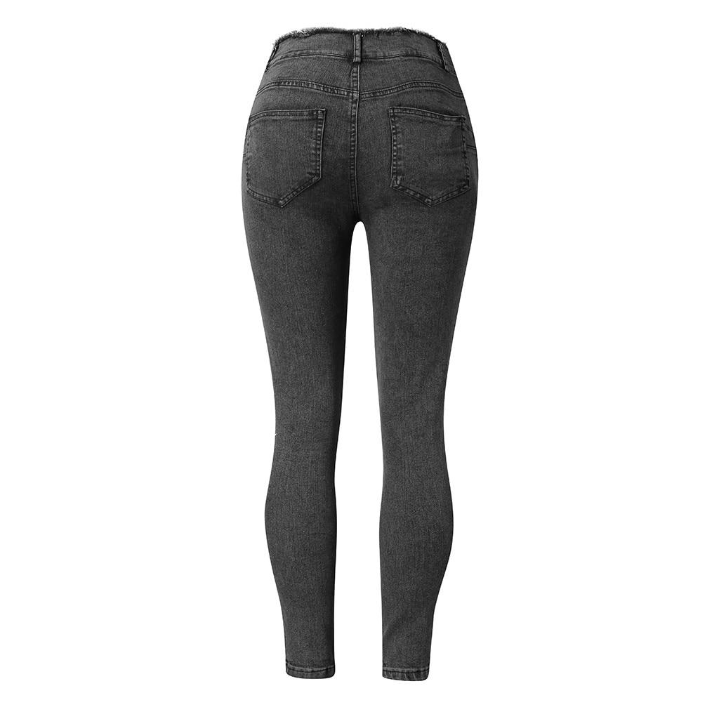 HTB1cgwySr2pK1RjSZFsq6yNlXXaU modis Women Elastic Butto Tassel Loose  Denim Casual Small Feet  Slim Fit Jeans vaqueros mujer calca jeans feminina 2019#4
