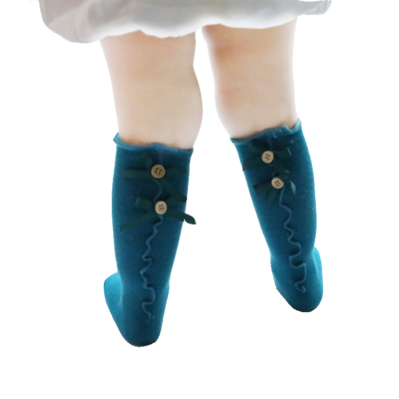 Spring Baby Socks Long Tube Socks Newborn Baby Floor Non-slip School Tall Tube Bow Frill Princess Socks