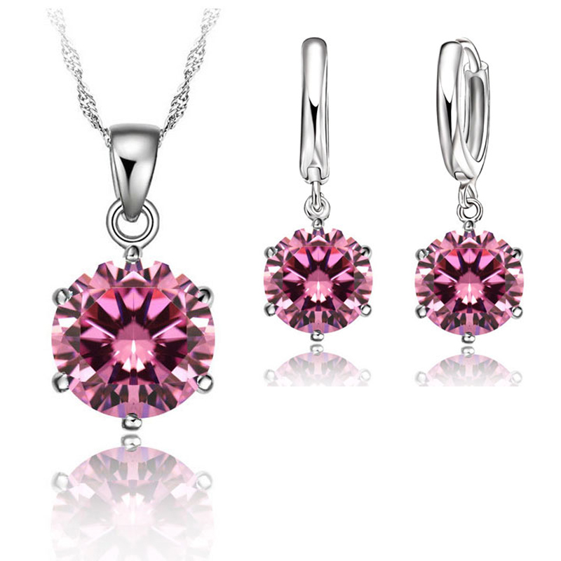 Classic Bridal Wedding Jewelry Set For Women 925 Sterling Silver Crystal Necklace Earrings Sets For Engagement 7 Colors