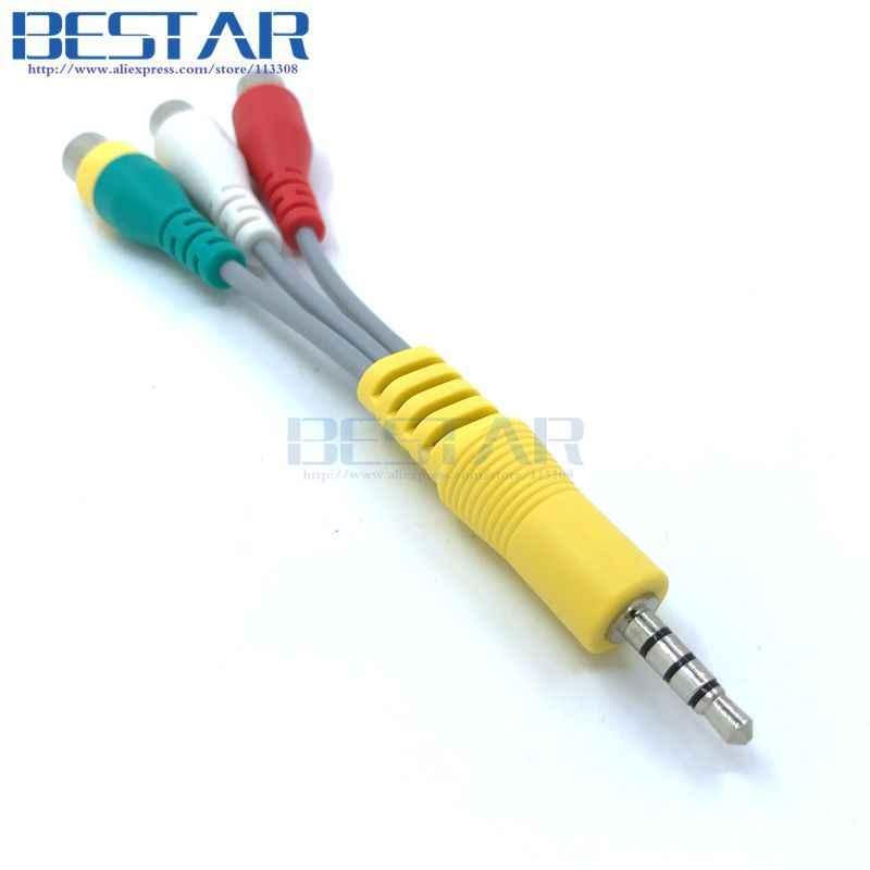 3.5mm Aux Mini AV męski na 3RCA żeński M/F kabel audio-wideo 10cm adapter stereo przewód do telewizora UN46C9000ZV UN55C6400RH itp