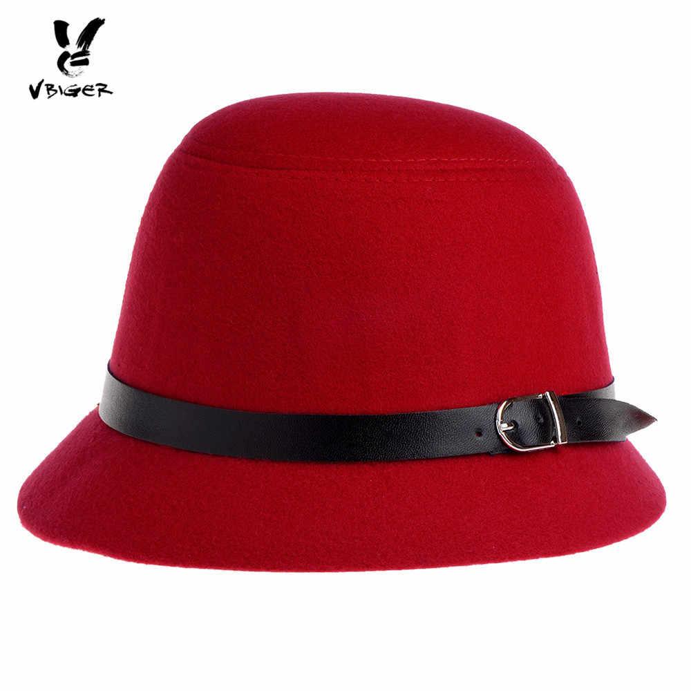 803d562bcab14 VBIGER Women Fedoras Hat Bucket Hat Fashionable Wool Felt Bowler Hat Cap  Billycock with Decorated Belt