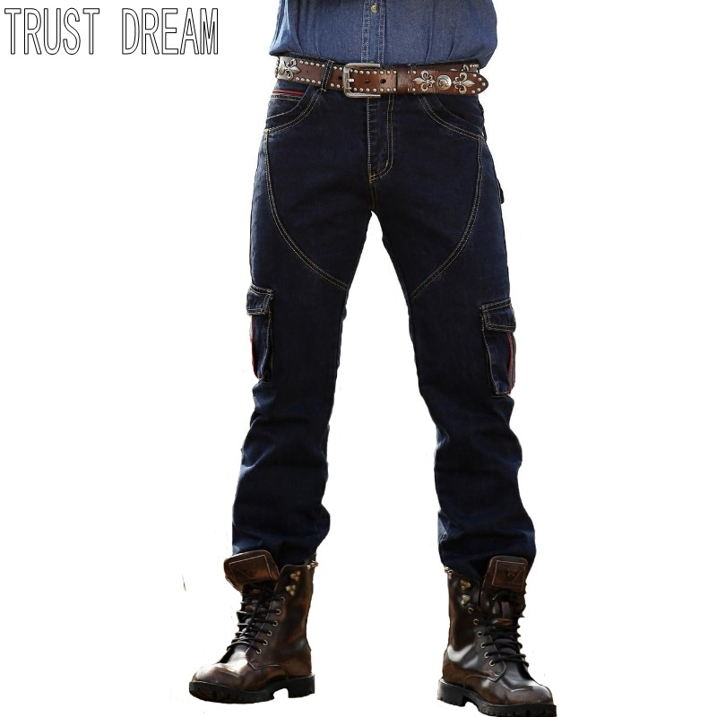 American Cowboy Style Spring Autumn Men Straight Washed Loose Jeans More Bags Blue Jeans Worker Man Fashion Jeans