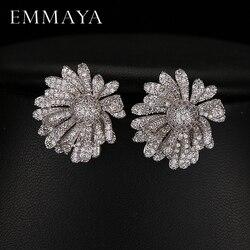 Emmaya aaa cristal austríaco pavimentado bonito geométrico zircão brincos novo design moda jóias para a senhora