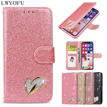 Deluxe colorful shiny flip cover for wallet Samsung Galaxy A3 2017 A5 A6 2018 A72018 A750 A8 Love phone case