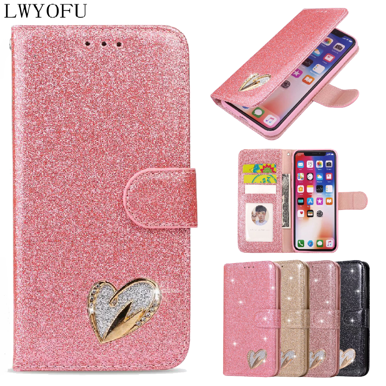 Luxury colorful shiny flip cover for Apple iPhone 5S 6S 7 8 Plus wallet XS XR Max case