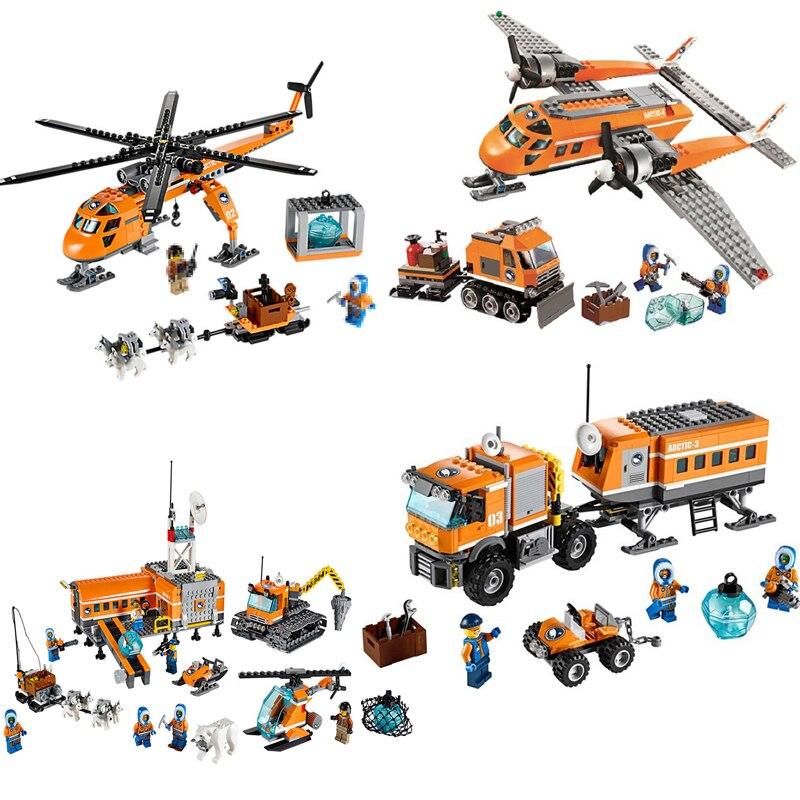 City Arctic Snow Base Camp Model Building Blocks Aircraft Truck Figure Bricks Educational Toys For Children Compatible LegoINGly