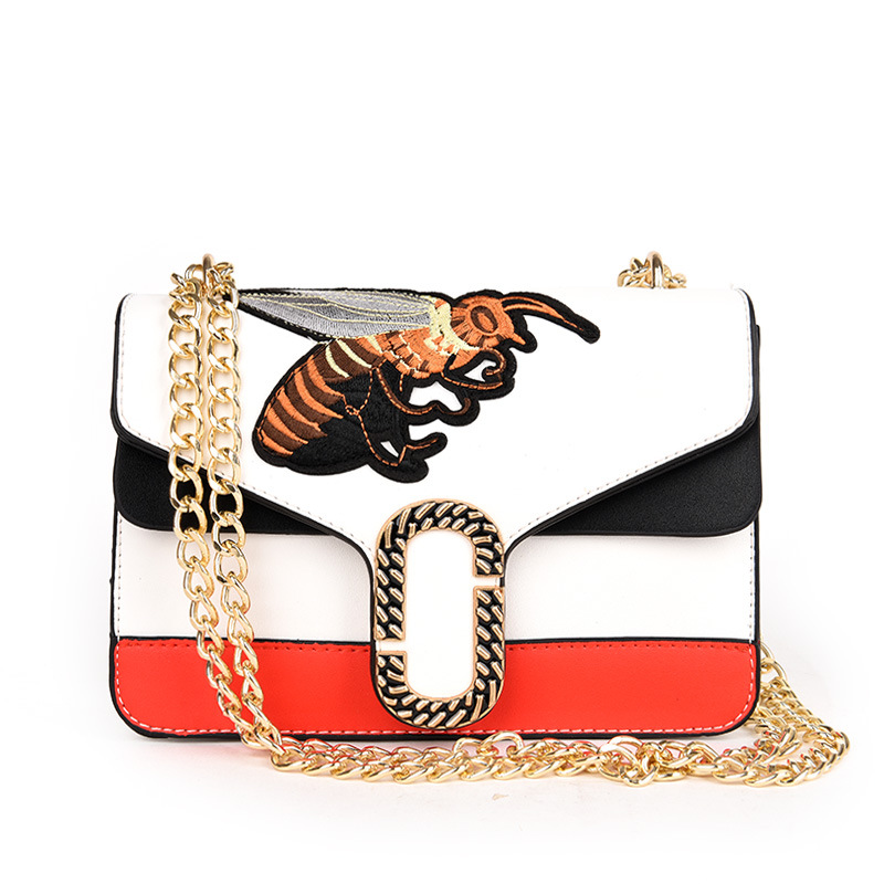 2018 Shoulder Bag Hit The Color Small Square Package New Pu Female Bag Wild Stylish Bee Packet