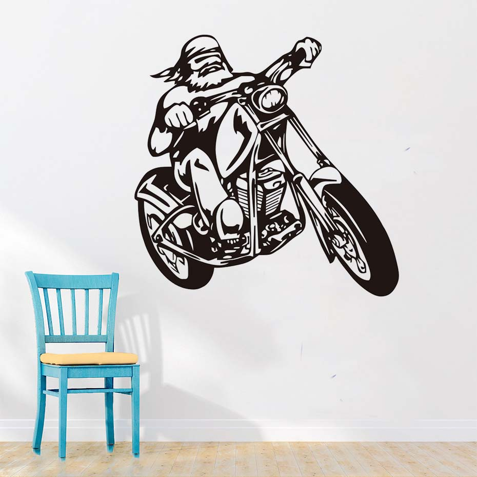 Male Motorcycle Biker Wall Stickers Creative Home Decor Living Room Wall Decals Vinyl Interior Decoration For Kids Room
