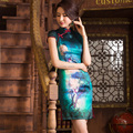 Moonlight passion 2014 summer new silk silk cheongsam improved fashion cheongsam dress