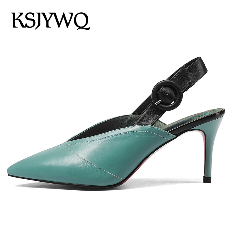 KSJYWQ Sexy Pointed-toe Women Pumps 7 CM High Heels Summer Dress Shoes Buckle Stilettos Plus Size Woman Shoes Box Packing D905-2 new 2017 spring summer women shoes pointed toe high quality brand fashion womens flats ladies plus size 41 sweet flock t179