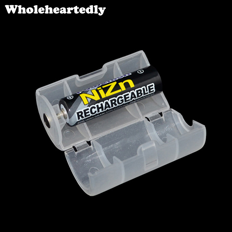 White Plastic Aa To D Size Battery Conversion Adapter Switcher