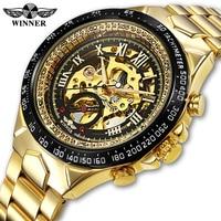 WINNER Men Watch New Sport Design Bezel Golden Watch Mens Watches Top Brand Luxury Montre Homme Men Automatic Skeleton Watch