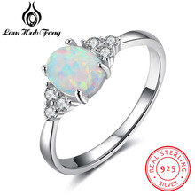 100% 925 plata esterlina oval White OPAL piedra Anillos con zirconia cúbico para las mujeres aniversario romántico regalo mamá (lam hub FONG)