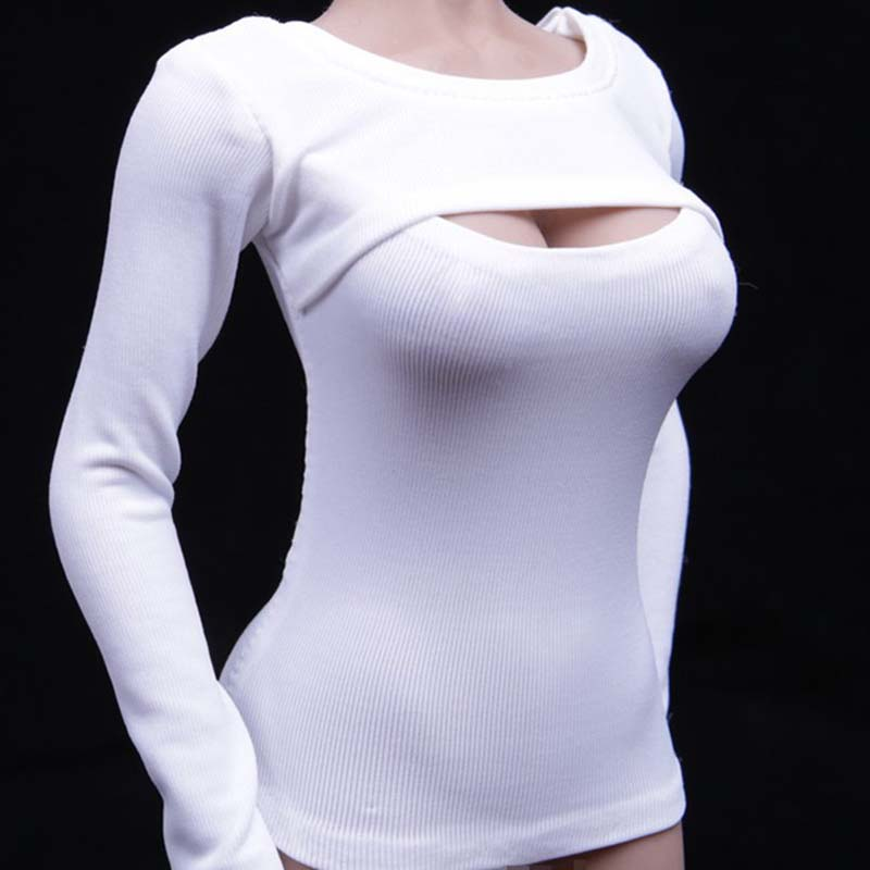 Mnotht Long-Sleeve T-Shirt Underwear Soldier Body Sexy Female White 1/6-Scale Ph-Glue