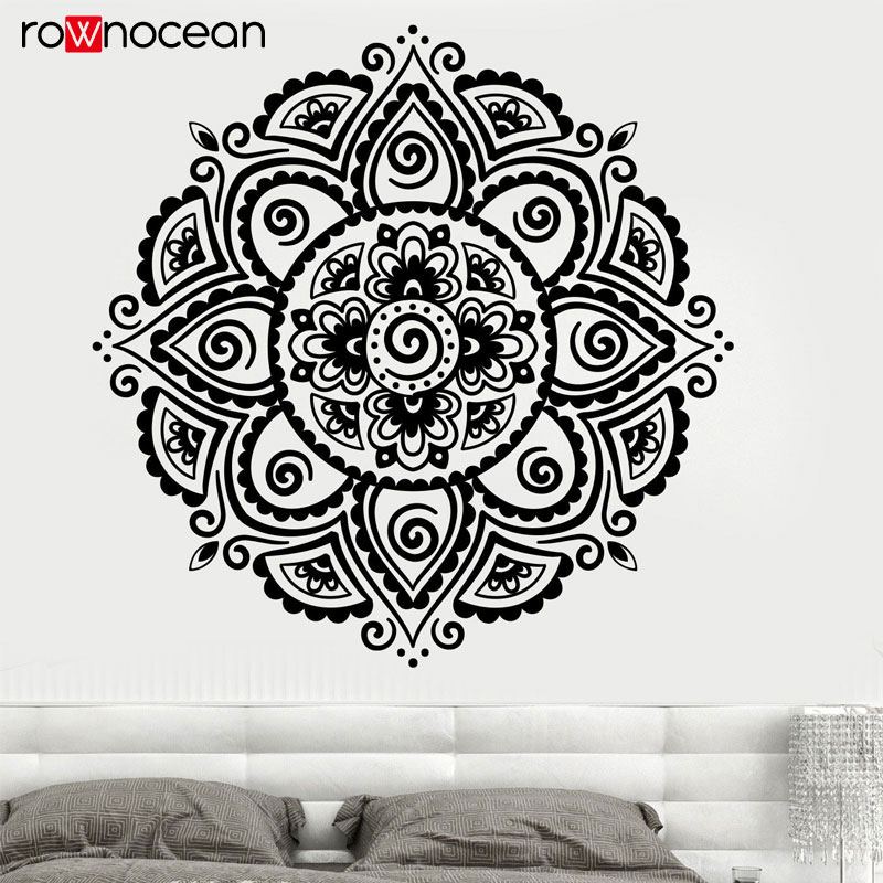 Buddhism Hinduism Lotus Vinyl Stickers Flower Mandala Decal- Boho Wall Decal Bohemian Bedroom Decor YD31