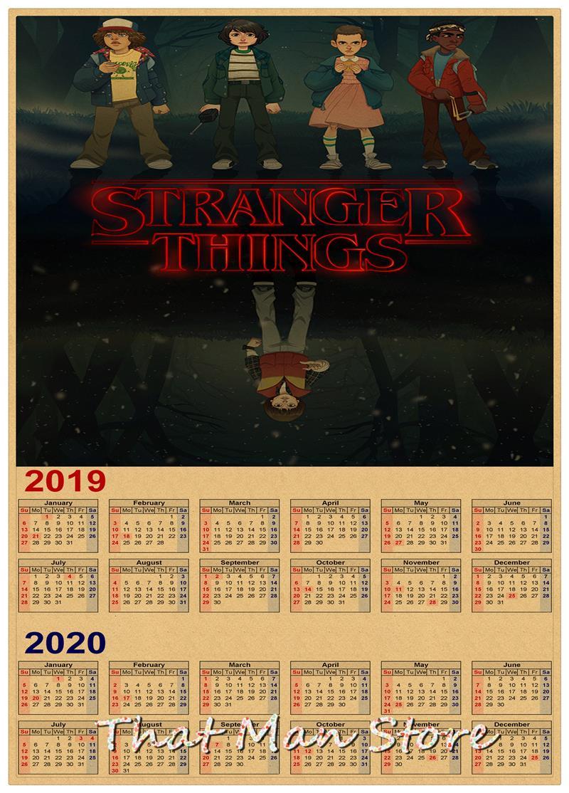 Poster Calendario 2020.Hot Sale Stranger Things 2019 2020 Calendar Poster Vintage Antique Posters Wall Sticker Home Decora 30 21cm