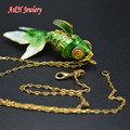 1PC Lovely Goldfish Pendant Necklace Many Colors Fashion Women Jewelry Blue Green Brown