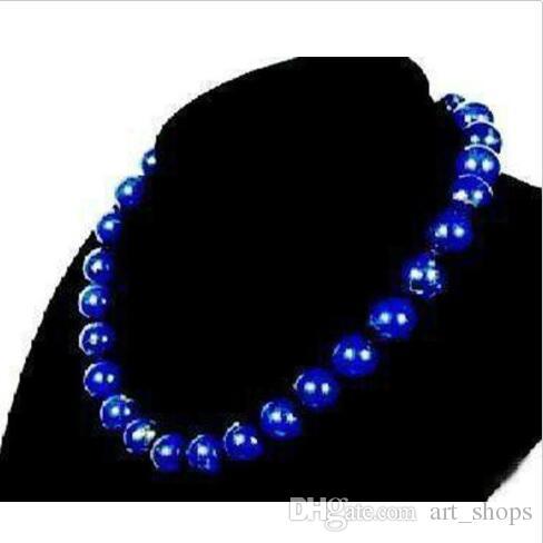 Stunning!10mm Egyptian Lapis Lazuli Necklace AAA 18''