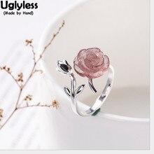 Кольца для женщин из твердого 925 пробы серебра пробы с цветами, клубника, кварц, розовая роза, кольцо на палец, хорошее ювелирное изделие