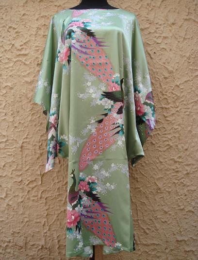 Discount Green Womens Faux Silk Robe Printed Flower Peafowl Bath Gown Yukata Sexy Homedress Free Shipping One Size