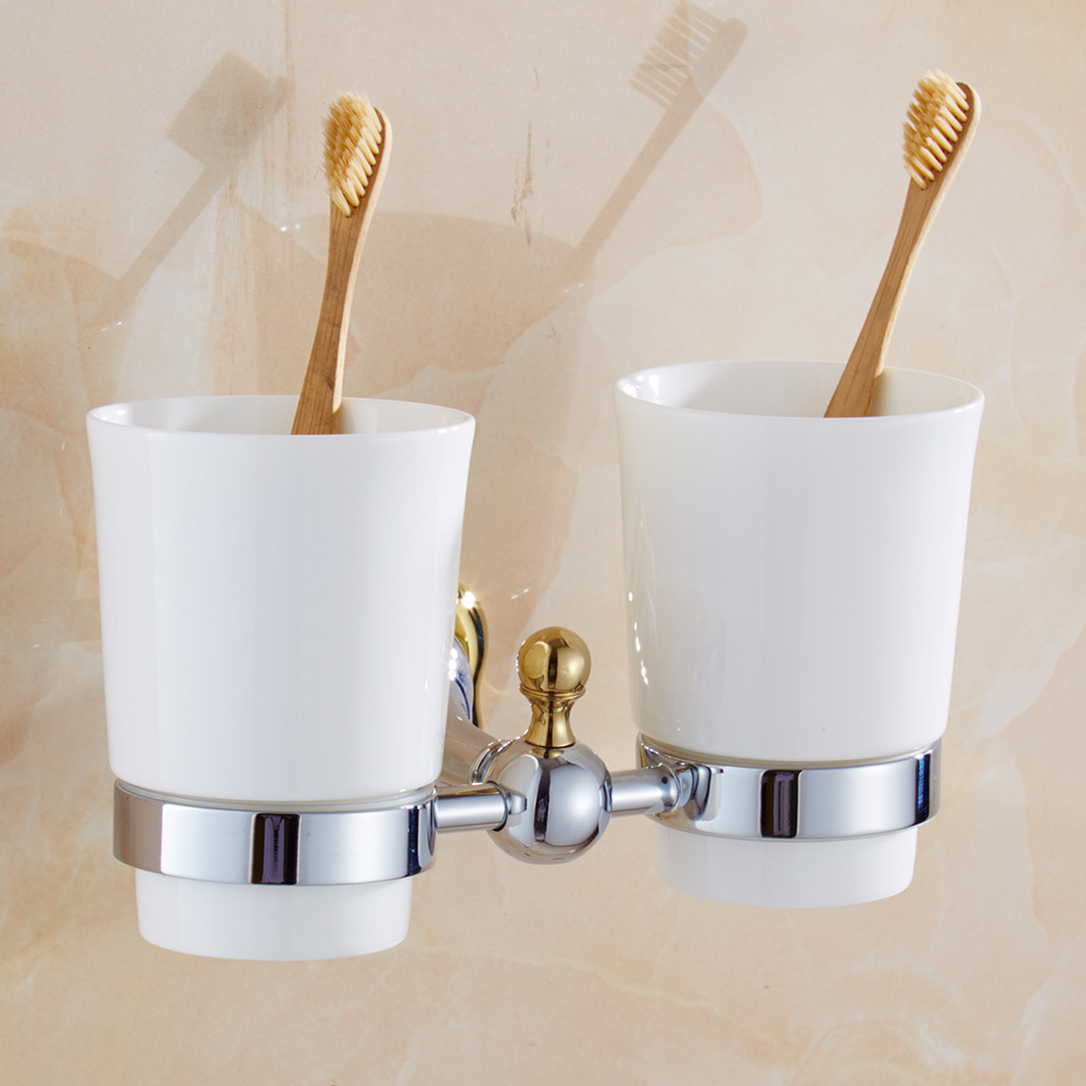 Modern Flower Tumbler Holder Double Cup toothbrush nholder Silver Polish Cup Holder with Gold Decoration Bathroom Accessories silver polish cup holder modern double tumbler holder flower design cup toothbrush holder bathroom accessories