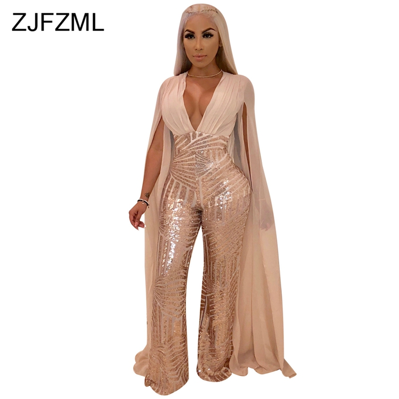 Sparkly Sequins Sexy Overalls For Women X-Long Cloak Sleeve V Neck Wide Leg Jumpsuit Elegant  See Through Plus Size Party Romper