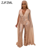 Sparkly Sequins Sexy Overalls For Women X Long Cloak Sleeve V Neck Wide Leg Jumpsuit Elegant See Through Plus Size Party Romper