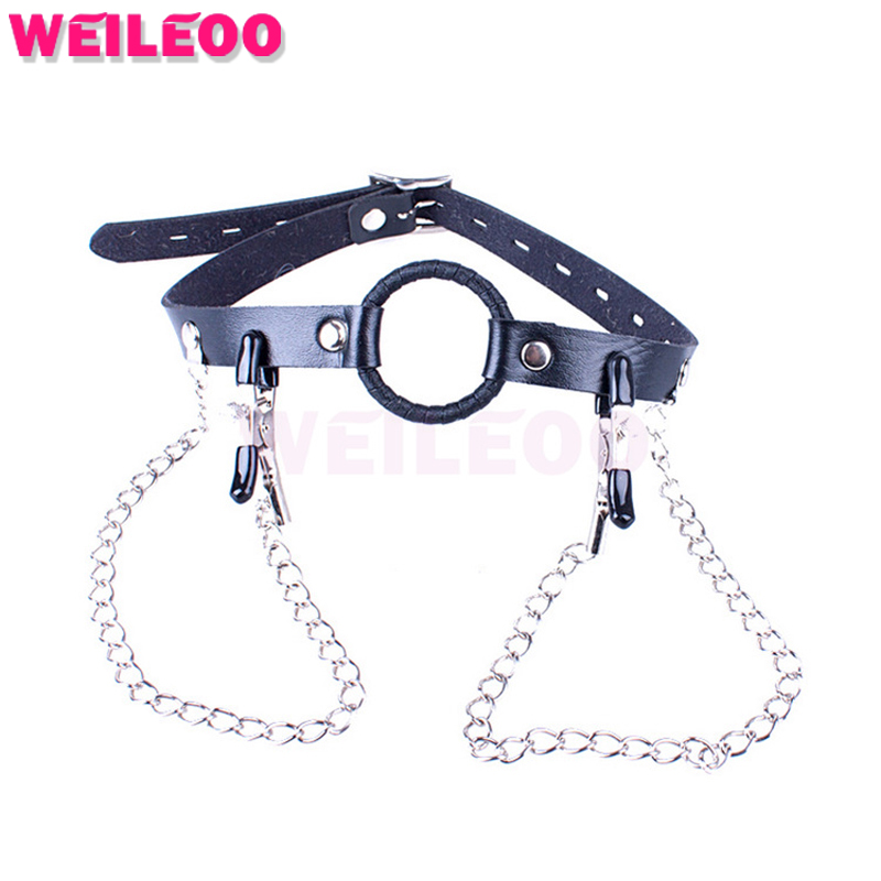 nipple clamps collar open mouth gag ball adult font b sex b font font b toys