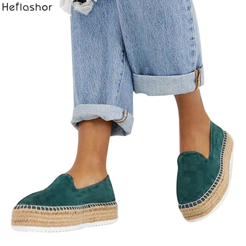 Mocasines Mujeres Alpargatas Faux 2019 Suede Heflashor On Slip Plataforma Pisos Casual Zapatos 4jRLqS5Ac3