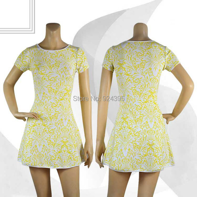 Women Summer white yellow black printed short sleeve A line new 2014 High quality bandage dress hl party dresses wholesale