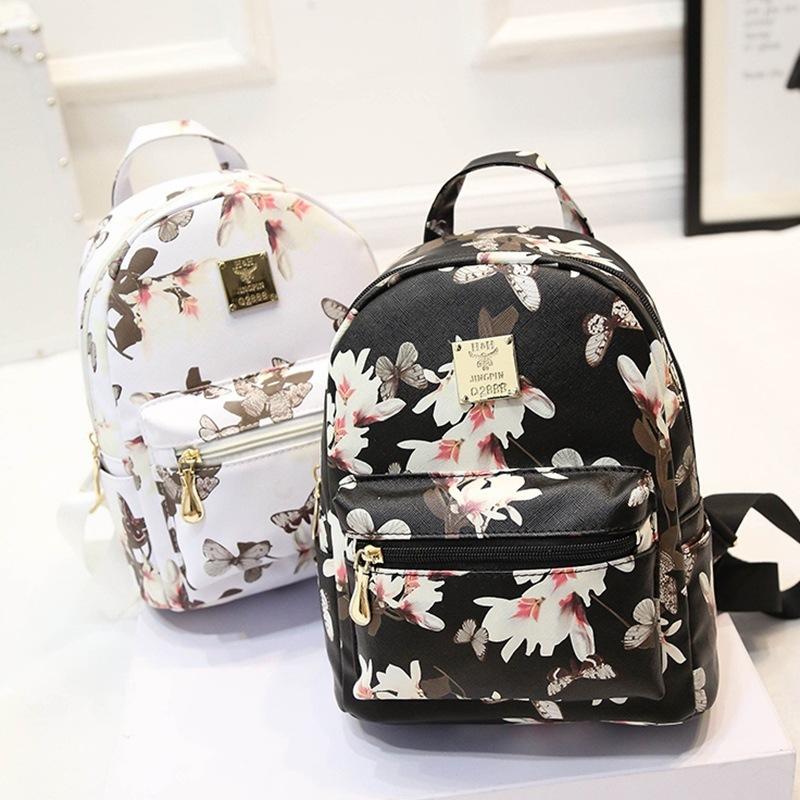 Mini Floral Printed Backpack Female Sac A Dos Femme Leather School Travel Bag Pack Small Backpack For Teenager Travel Bagpack fashion women floral printing backpack daypacks canvas school bags for teenager girls rucksack travel backpack sac a dos femme