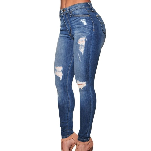 Women denim pants 2016 new arrival destroyed ripped skinny jeans woman casual club high waist sexy slim jeans long length A78637