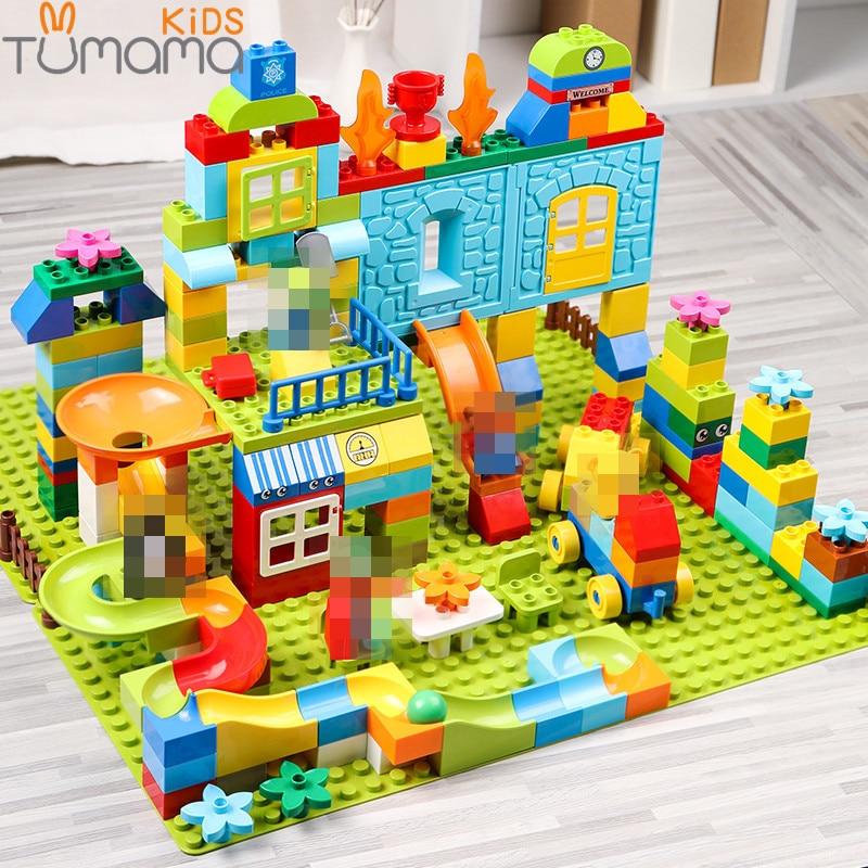 Big Size Building Blocks 160-211pcs Amusement Park Marble Run Building LegoINGlys Duploedd Building Blocks Toys For Children