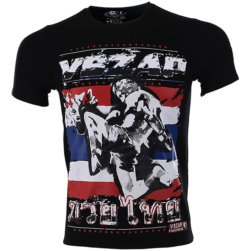 VSZAP 3 Colors Thailand THAI Boxing MUAY THAI Training Combat Sod For Flying Knees T-shirt Fight MMA Wulin Fitness Team Clothing