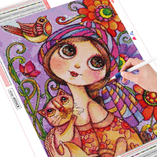 HUACAN 5d Diamond Painting New Arrivals Girl Diamond Embroidery Full Set Cartoon Square Round Rhinestones Pictures